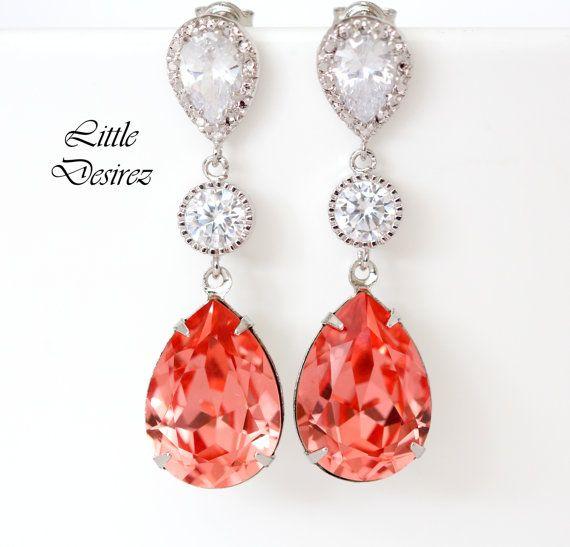 Coral Earrings Bridal Earring Swarovski by LittleDesirezJewelry