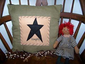 Rustic Americana Decor | ... Stitchery-Barn-Star-Pillow-Americana-Country-Prim-Rustic-Home-Decor-wv