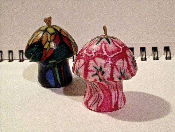 Vintage Tie Dye Mushroom Candles 2 Unused by CrackerJackPaintShop