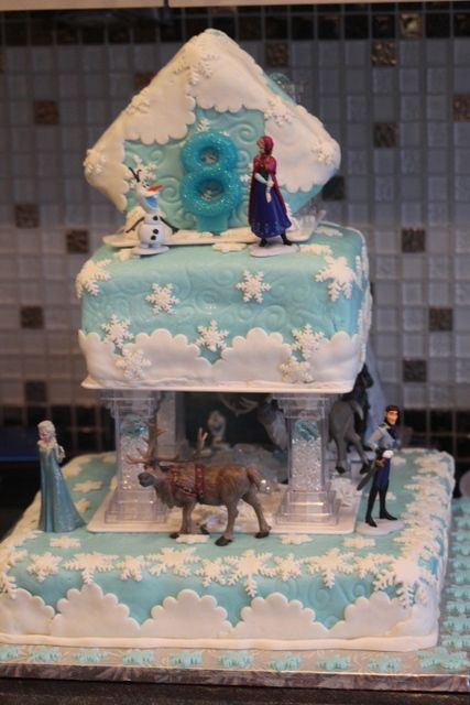 Frozen Birthday Party decorated cake! See more party ideas at CatchMyParty.com!