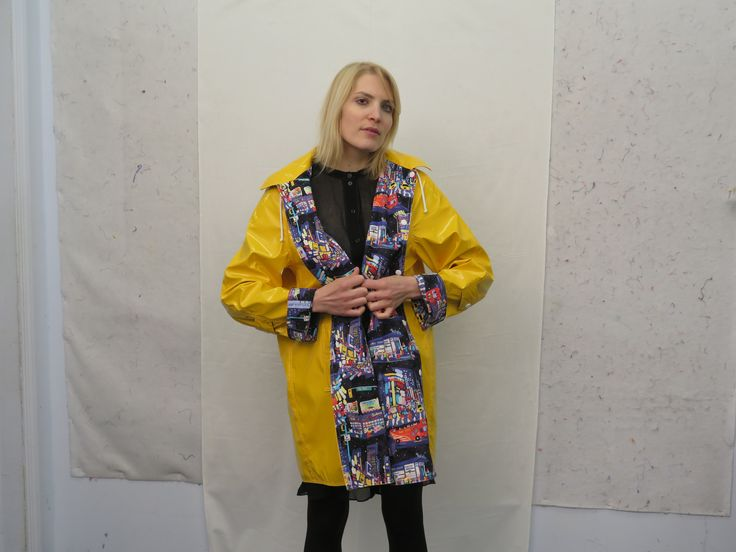 CQ Staffer Karen wears an NYC Boutique raincoat lined with The City Quilter's exclusive Times Square Print.