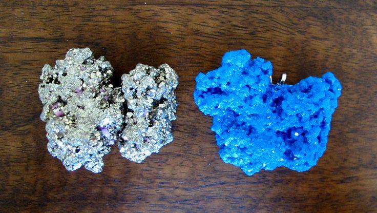 Dark Blue Resin Brooch Pendant - Pyrite Nugget - Jurassic Jewellery Mineral Range by JurassicJewelleryAus on Etsy