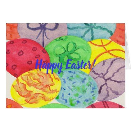 Watercolor Easter Eggs Custom Greeting Cards - happy easter egg holiday family diy custom personalize