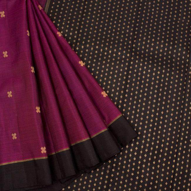 Handloom Pure Zari Kanjivaram Silk Saree With Brocade Blouse Material 10019478 - AVISHYA.COM