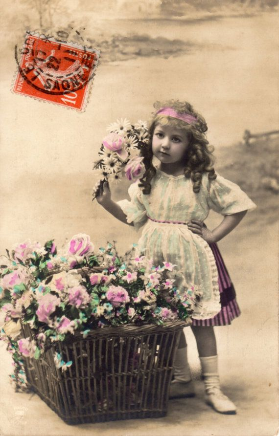French antique postcards little girl 233 by Fairymelodycollect