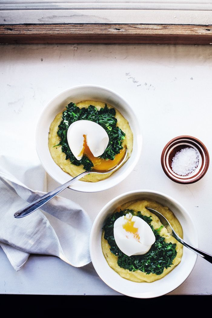 Polenta with garlicky spinach and soft, runny egg | At the breakfast table