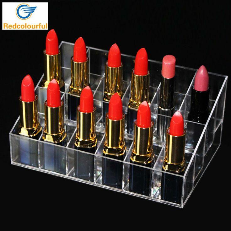 24 Lipstick Organizador Del Sostenedor Del Soporte de Exhibición Exhibición de La Joyería Caja de Cosméticos Maquillage Rangement Organizador de Maquillaje Acrílico