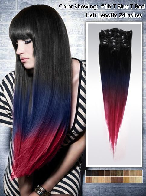 Straight Three Tone Ombre Human Hair Hair Extension Clip On