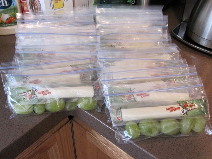Trying to make healthy snacks for my son and his Kindergarten classmates.  Today was grapes and string cheese.  About 2 pounds of grapes, a large pack of string cheeses and snack size ziptop bags made enough for 24 :)