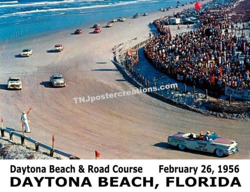 Stock Car Racing on Daytona Beach, 1956 Poster
