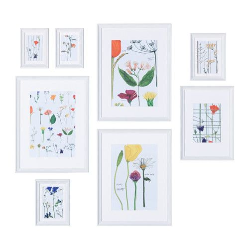 KNOPPÄNG Frame with poster, set of 8 IKEA The included collage template and coordinated motifs make it easy to create your own personal wall collage.