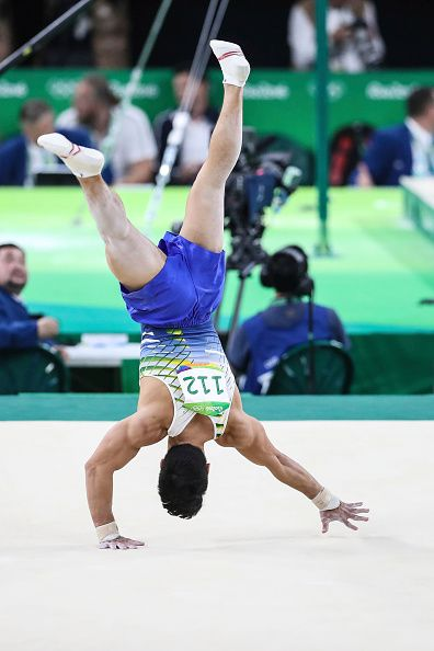 #RIO2016 Sergio Sasaki of Brazil competes during the Men's Individual AllAround final on Day 5 of the Rio 2016 Olympic Games at the Rio Olympic Arena on...