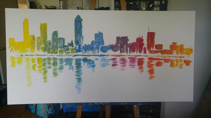 Montreal skyline by Joël Séguin. Acrylic on gallery canvas. 24x48 inches.