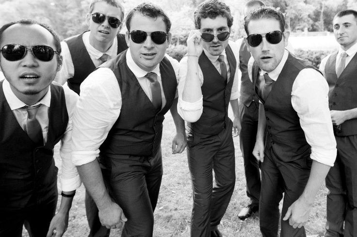 Best groomsmen portrait picture ever. These guys were a BLAST. From a DIY pruple & orange, rustic Northern Virginia wedding. Images by Kristi Odom Photography.