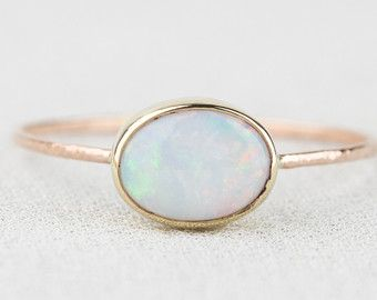 Natural AAA Opal Ring Solid 14k Gold Simple Stack by MARYJOHN