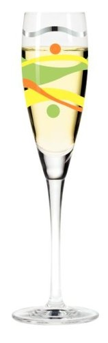 $41.63 Champagne Glass, Pearls, Green and Yellow Swirls, Designer Color Enamel Prosecco Flute in Gift Box - Designer Adrian Olabuenaga's 2004 Pearls Prosecco Wine Glass, Green & Yellow Swirls - Designer Made, Colour Enameled Champagne Flute Glass in Gift Box. These beautiful German Designer Champagne Glasses or Flutes feature colour enameled images from over 34 different Ritzenhoff Designers. Th ...