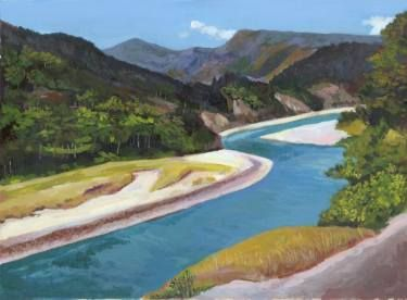 "Saatchi Art Artist Sonal Panse; Painting, ""Blue River"" #art"