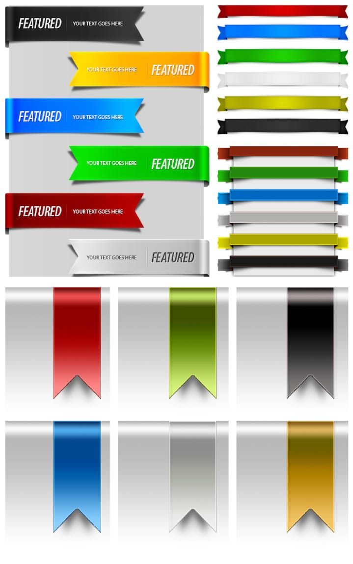 4 sets with 24 ribbons for web design PSD templates for Photoshop in different colors (this ribbons can be used in graphic designs too). Format: PSD Photoshop template. Free for download.