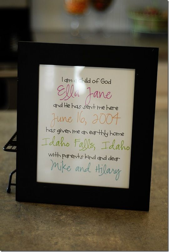 "Baby details underneath ""I am a Child of God"" verse. Nice idea for a customized gift.Births Announcements, God, Baby Shower Gift, New Baby Gift, Baby Gifts, Gift Ideas, Cute Ideas, Children, Birth Announcements"
