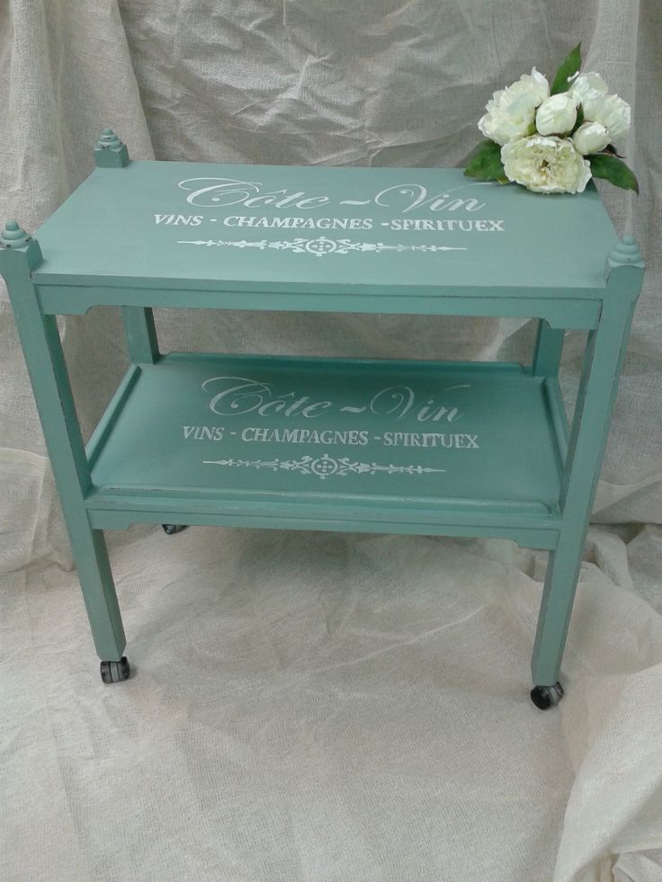 Very chic looking vintage tea trolley upcycled, revamped with Autentico Chalk Paint Troubled Water, stenciled using a Maison de Stencil stencil in Chalk Grey.  Available now on www.craftynest.co.uk - free delivery within 10 miles of our shop.