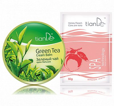 """Silky hair and smooth skin  Silky hair and smooth skin - Every woman dreams of shiny and silky hair. The """"Green Tea"""" cream-balm will help you to get almost ahead of your dream. Take care of your hair and TianDe will take care of the beauty of your body. You can get our nice-smelling body salt for free."""