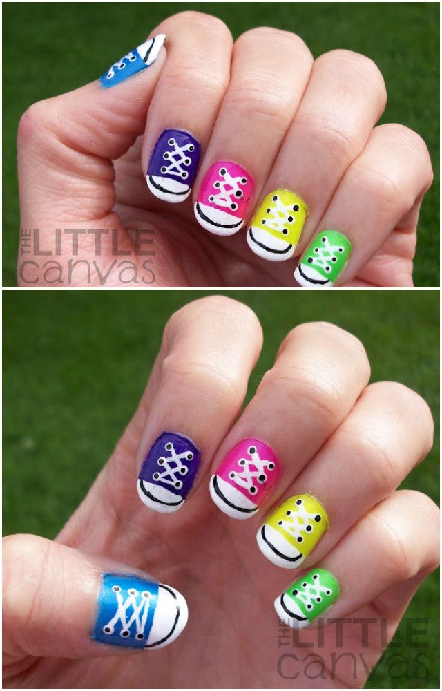 diy rainbow converse nail art design manicure ideas and tutorials - Hot Designs Nail Art Ideas