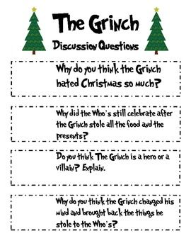 "A SLEIGHFUL OF LANGUAGE ARTS ACTIVITIES BASED ON THE BOOK ""THE GRINCH"" - TeachersPayTeachers.com"