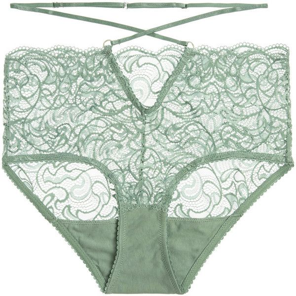 Lonely Penny stretch-lace briefs ($38) ❤ liked on Polyvore featuring intimates, panties, underwear, lingerie, gray green, underwear lingerie, stretch lace lingerie, high waisted lingerie, vintage style lingerie and vintage inspired lingerie