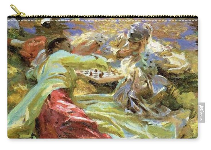 The Carry-all Pouch featuring the painting The Chess Game by Sargent John Singer