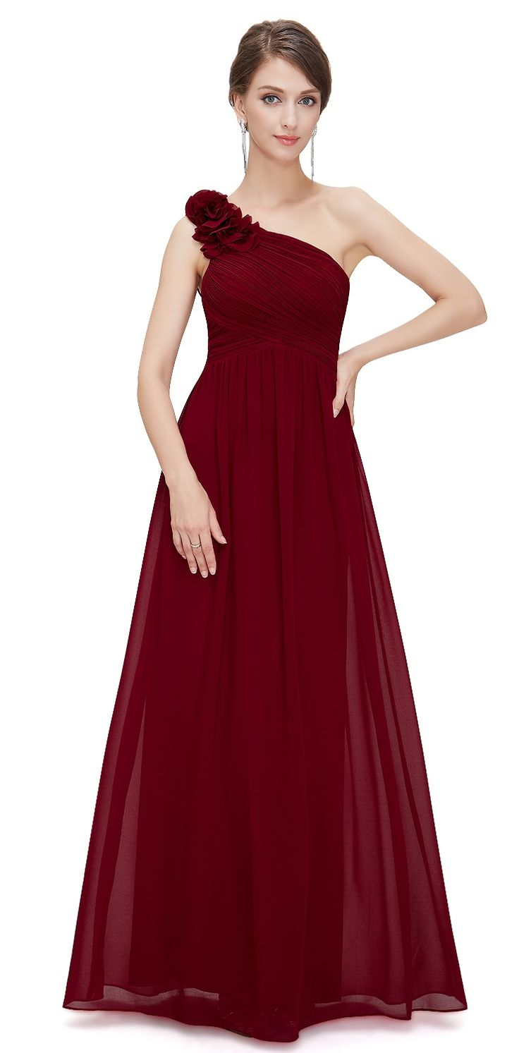 Pippa Cranberry Berry Red Chiffon Corsage One Shoulder