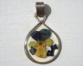 Real Violet Flower Pendant, Made with Dried and Pressed Violet Petal from Tuscany, Italy, Dried Flower Pendant with Resin, Sterling Silver