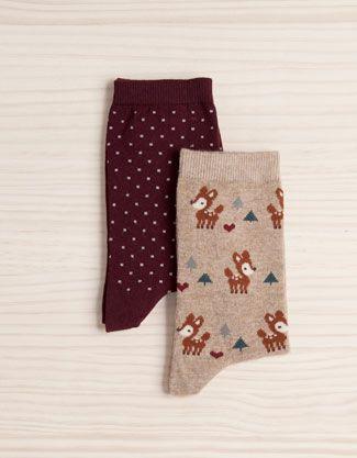Pack Socken mit Tupfen und Hirschmotiven - Socken - Accessoires - Deutschland