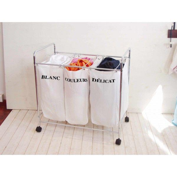 263 best Salles de bains images on Pinterest Bathroom, Small - meuble salle de bain panier a linge