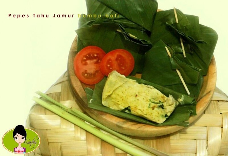 Pepes Tahu Jamur Bumbu Bali ( Steam Soybean curd with mushroom in Bali Traditional Spices)