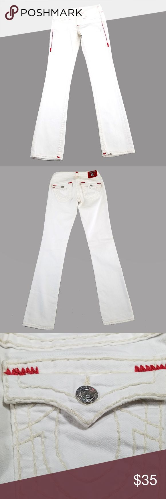 "True Religion Womens Jeans 28 Billy Straight Fit True Religion Womens Jeans 28 Billy Straight Fit White Red Accent USA 28 32 Seam to seam across waist: 14.25"" Rise: 7"" Inseam: 32.5"" Top of waist to bottom (length): 40""  Excellent condition with minor wear True Religion Jeans Straight Leg"
