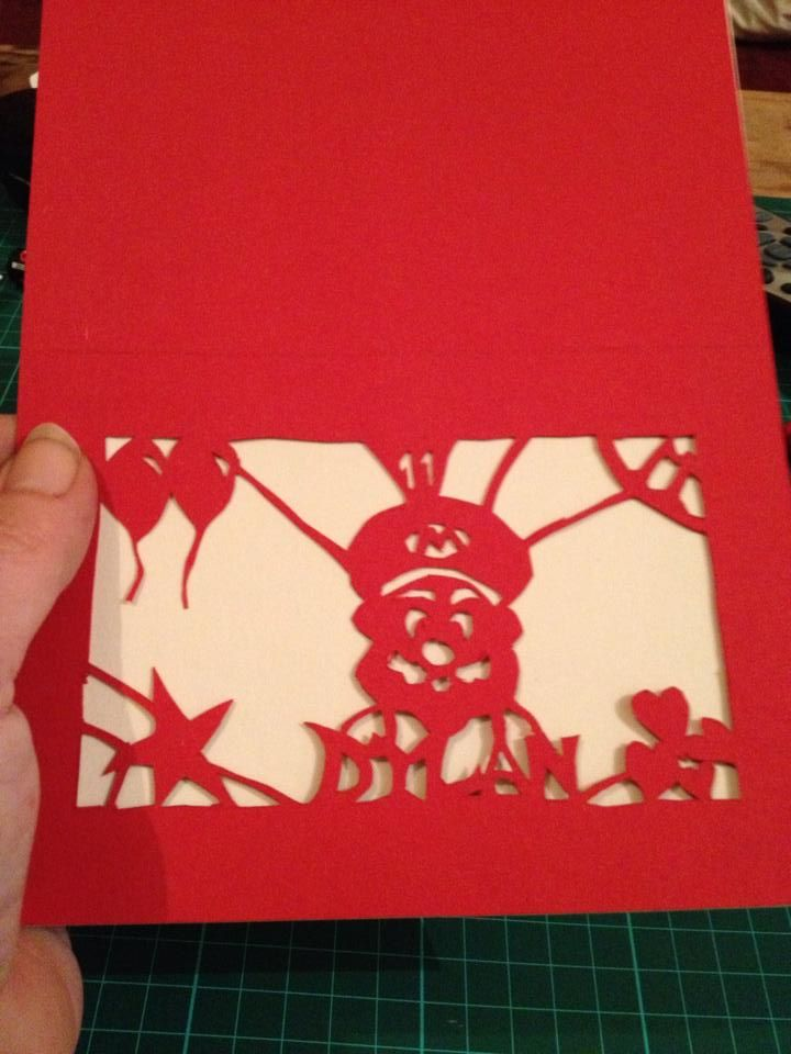 Freestyle paper cut birthday card for Mario fan