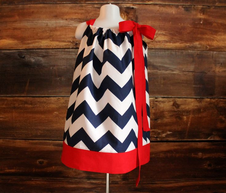 Navy Chevron Dress (Pick Trim Color) - Newborn to Child 7/8 girls pillowcase dress baby infant toddler Ole Miss Rebels NY Giants AZ Wildcats by DoodlebugsDrumsticks on Etsy