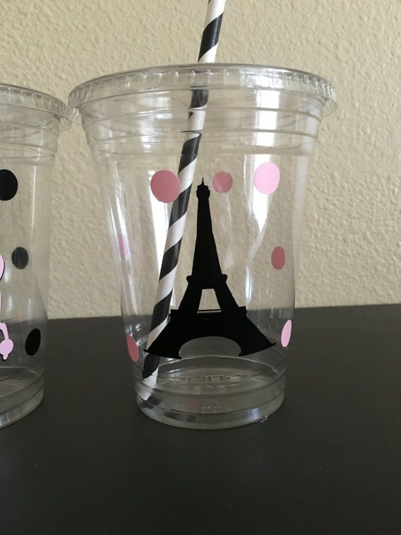 These are great for any Paris inspired party. Each cup is 16 oz. and made from a sturdy disposable plastic. These are decorated with vinyl stickers and come with matching paper straws and lids. These are perfect for small children who easily spill. You can also stuff these with candy, snacks, and little toys for a great party favor. There are many options available: 12 count 16 count 20 count 25 count 30 count 40 count 50 count  Please click the amount button to see pricing on these cups. If…