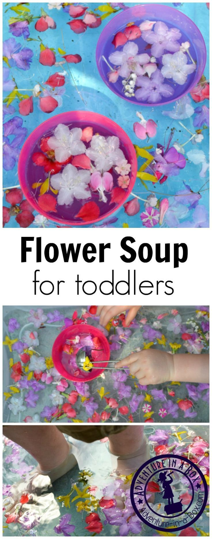 A delightful spring activity for toddlers that addresses all the different senses. They can pour this flower soup, mix it or even climb inside of their soup bins and wiggle bare toes around!