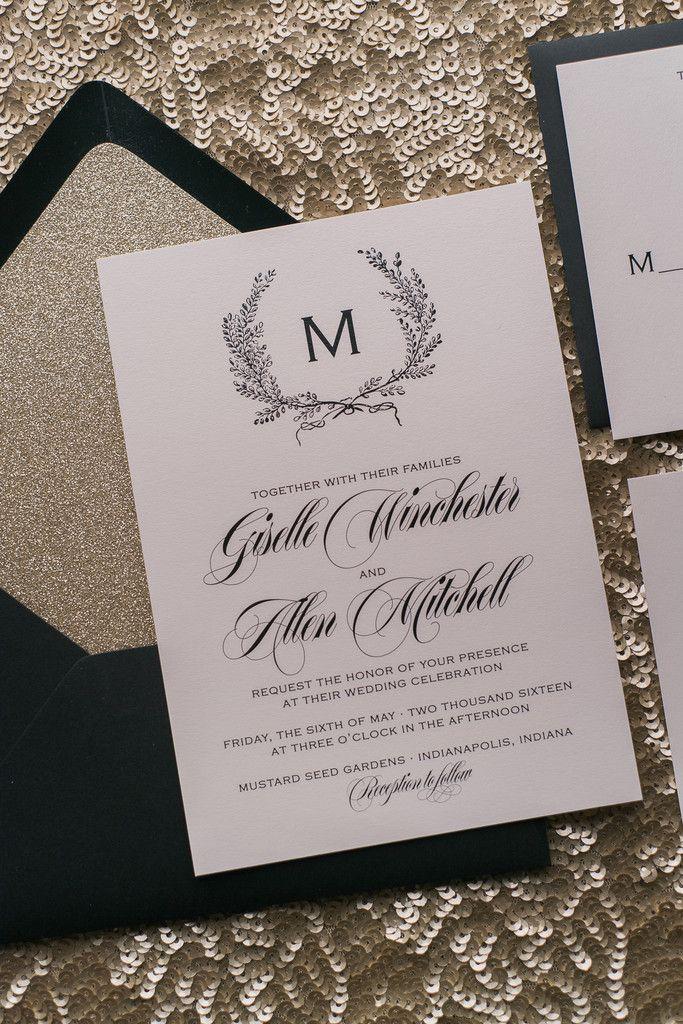 deer hunter wedding invitations%0A GISELLE Suite Glitter Package  elegant rustic wedding invitation with foil  laurels  gold glitter