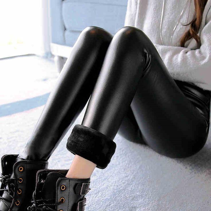 Fashion Women Leggings 2016 Winter Velvet Warm Leggings High Waist Stretch Skinny Pencil Pants Brand Faux Leather Leggings LG166