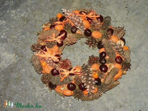 BARNA GOMBOK-őszi termés koszorú,ajtódísz,kopogtató