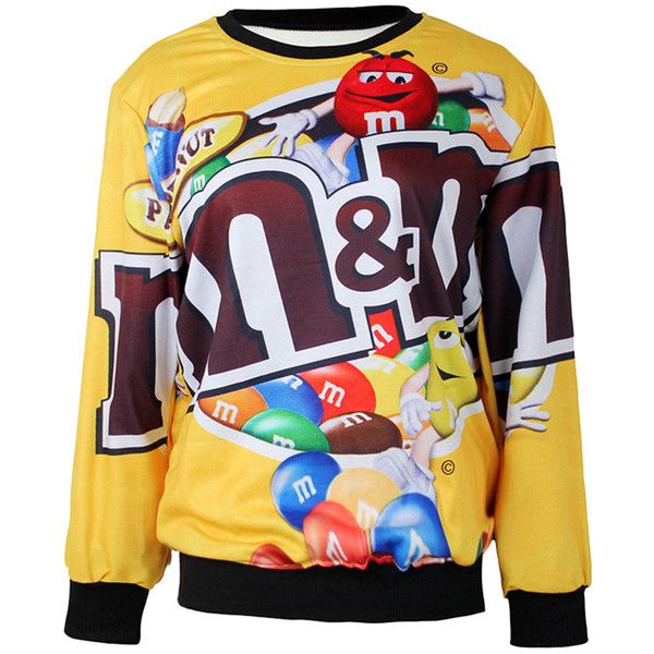 Yellow Funny Ladies Jumper Crew Neck M&M Chocolate Printed Sweatshirt ($23) ❤ liked on Polyvore featuring tops, hoodies, sweatshirts, yellow, sweat tops, yellow top, crew neck sweat shirt, yellow sweat shirt and crewneck sweatshirt