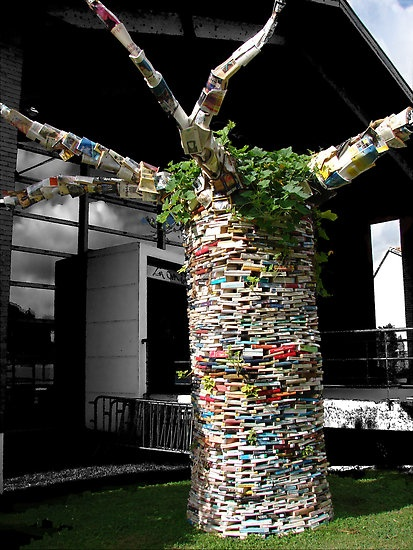 "Book ""Tree"": front of the library of Tournefeuille, near Toulouse (idea for reading garden)"