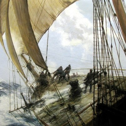 Montague Dawson, A Roll to Loo'ard, (1956)