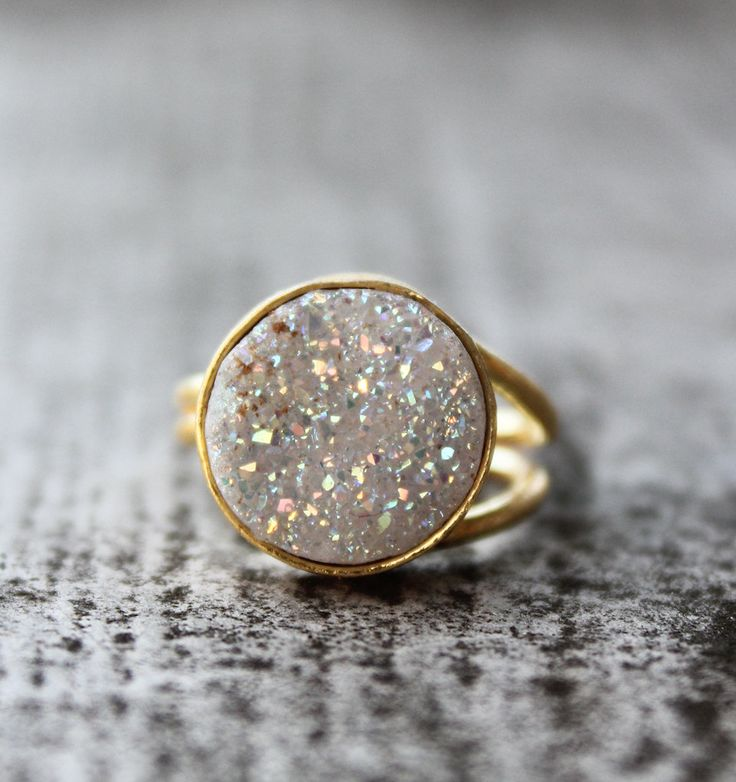 Gold White Titanium Druzy Ring -