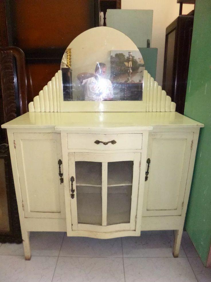 antiguo aparador de cedro, art nouveau
