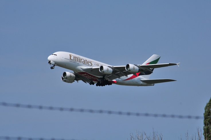 Emirates Airbus A380 taking off @ Schiphol Airport