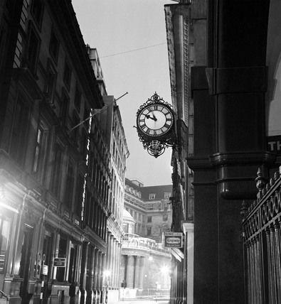 Streetlight and clock, photo John Gay (1909-99). Black and White Photography. London, England, c.1940.
