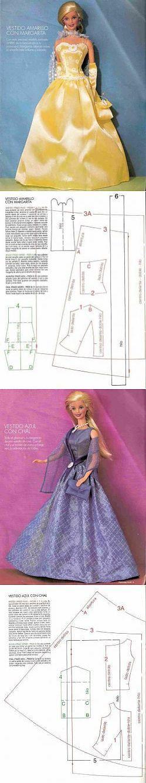 Kleidermuster für Barbie - Puppen kostenlos |  Katyushenka Ru - die Welt des Nähens